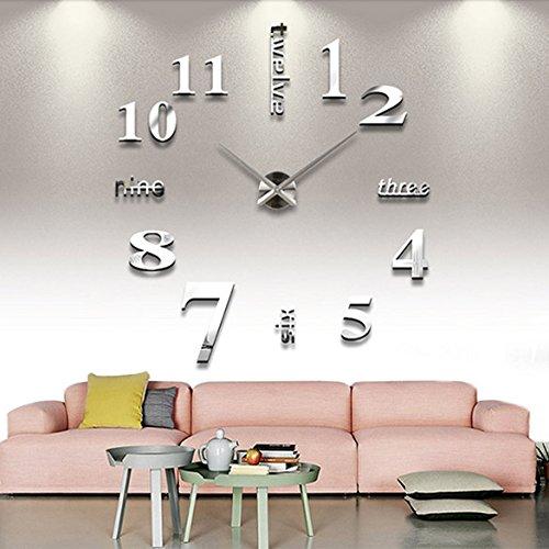 10 opinioni per Chinatera DIY Large Wall Clock 3D Mirror Sticker Big Watch Home Decor Unique