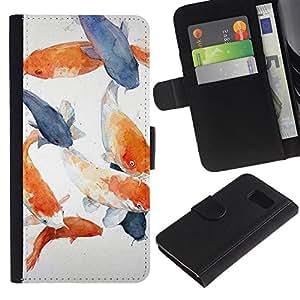[Neutron-Star] Modelo colorido cuero de la carpeta del tirón del caso cubierta piel Holster Funda protecció Para Samsung Galaxy S6 [Pescado Blanco Azul Naranja Gris]