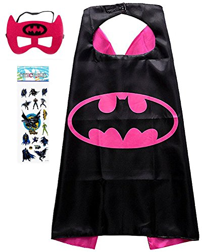 Superhero Costume and Dress up for Kids - Satin Cape and Felt Mask (cBatgirl) ()