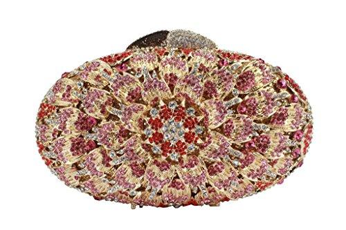Yilongsheng Señoras Oval de colores brillantes de noche monederos con dispersión con diamantes floral Crystal oro rosa