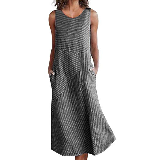 10cb7be8246206 Amazon.com: Hot Women Plus Size Casual Linen Loose Sundress Bohemian  Sleeveless Comfortable Stripe Pocket Long Maxi Dress: Clothing