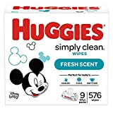 Huggies Simply Clean Fresh Scented Baby Wipes, Soft Pack 9 Pack, 576 Count