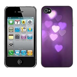 Cubierta de la caja de protección la piel dura para el Apple iPhone 4 / 4S - purple lights night dark violet