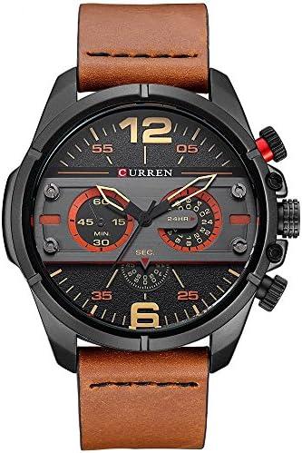 CURREN Original Brand Men s Sports Waterproof Leather Strap Wrist Watch 8259 Black Brown Black