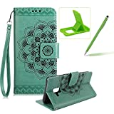 Rope Leather Case for Samsung Galaxy A8 2018,Strap Wallet Case for Samsung Galaxy A8 2018,Herzzer Bookstyle Classic Elegant Mandala Flower Pattern Stand Magnetic Smart Leather Case with Soft Inner for Samsung Galaxy A8 2018 + 1 x Free Green Cellphone Kickstand + 1 x Free Green Stylus Pen - Green