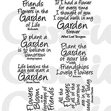 Card Io Garden Quotes Clear Stamp Set Transparent Amazon Co Uk