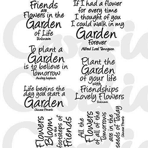CARDIO-io 'Garden citazioni set di timbri trasparenti, trasparente Card-io CDCCSTGAR-02