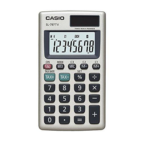 Calculadora de Bolso Vertical com Visor 8 Dígitos, Casio SL-797TV-GD, Dourado