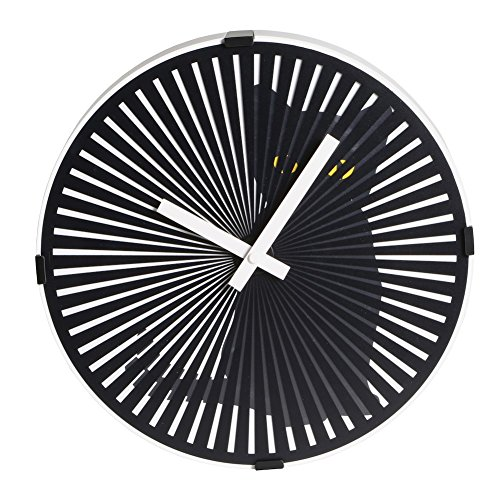 Clock Wall Cat Metal (WHAT ON EARTH Kinetic Zoetrope Cat Animated Wall Clock - Black Plastic and Metal)