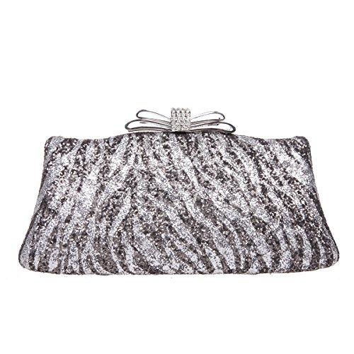 Fawziya Zebra Pattern Glitter Clutch Evening Bags For Women Party Clutches-Silver