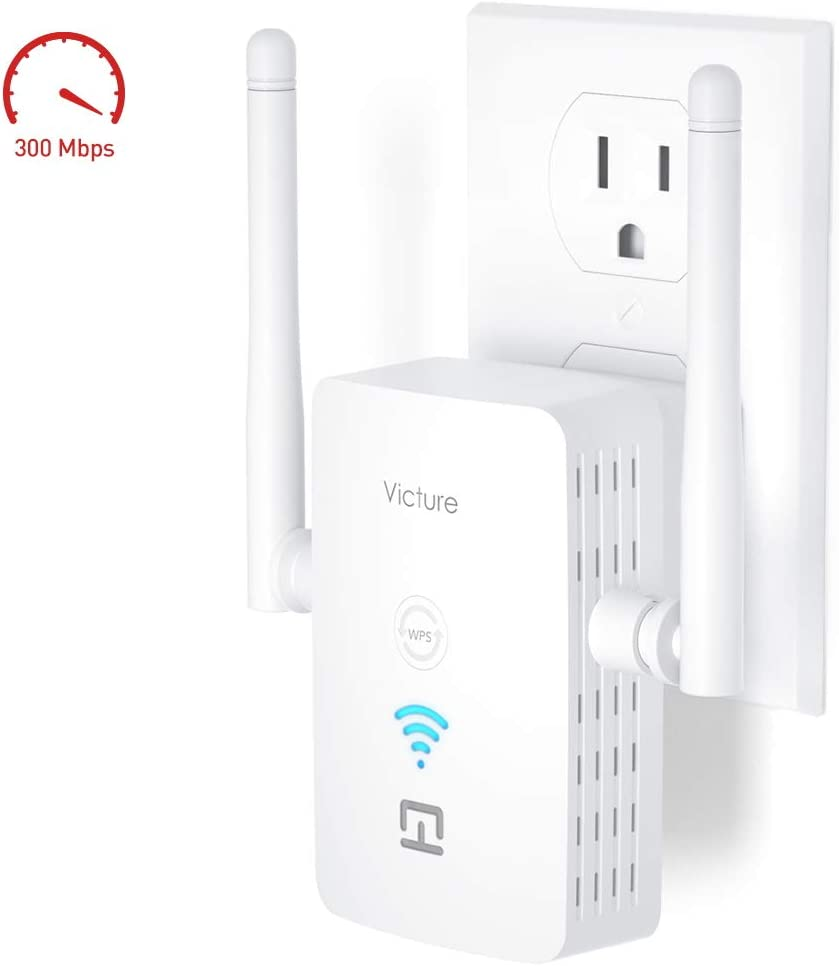 Victure WiFi Range Extender Repeater 2.4GHz 300Mbs,WPS&One-Click Setting,Fast Ethernet Port,AP Mode to Provide a Stable Network for Online Working and Enjoy Devices Which Need Internet