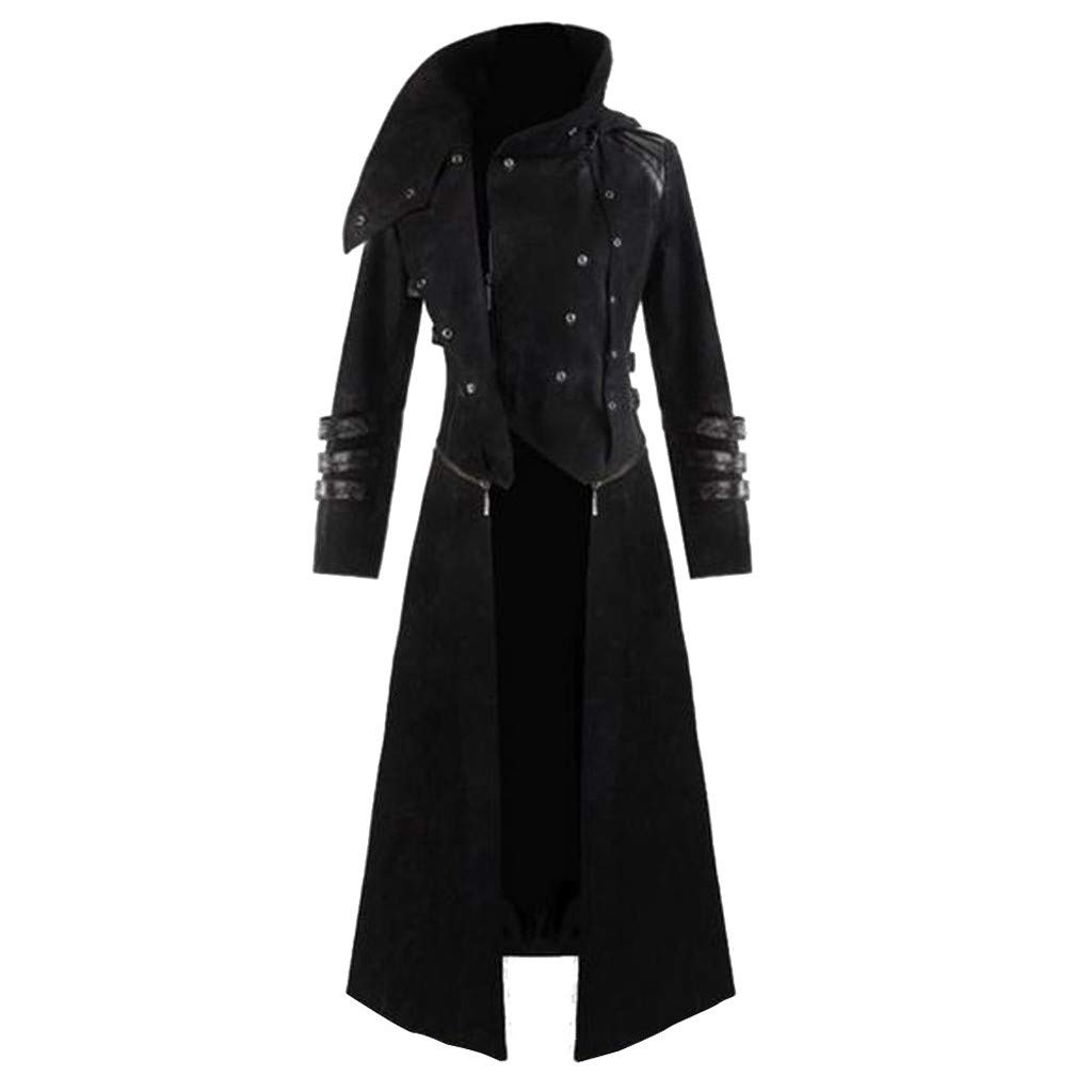 FEDULK Mens Vintage Gothic Hooded Trench Party Costume Plus Size Coat Long Sleeve Jacket(Black, XX-Large) by FEDULK