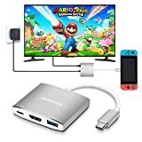 JAVONTEC USB C to HDMI Hub Dock for Nintendo Switch, USB Type C to HDMI Adapter Converter with 4K HDMI, 2 USB 3.0, Power Delivery for MacBook Pro, HP Spectre, Samsung S8/Note 8, Silver
