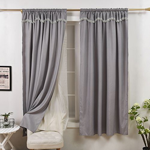 Colourful Snail Rod Pocket Window Elegance Curtains / Panels / Drapes / Treatments, Double Layer with Sheer Voile (1 Panel, 52 by 84 Inch, Grey) (Double Panel Curtains)
