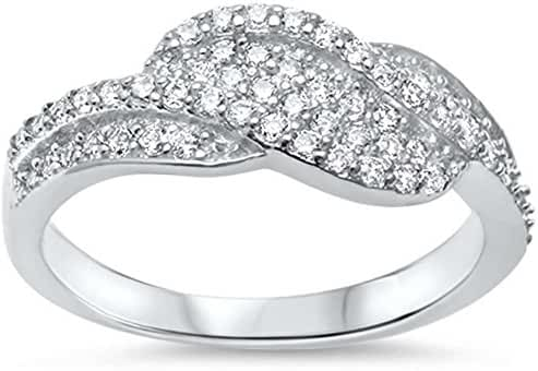 Sterling Silver NEW Fashion Design Cubic Zirconia Ring Sizes 5-10