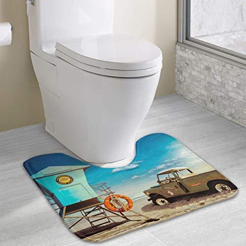 Beauregar Horizon Contour Bath Rugs,U-Shaped Bath Mats,Soft Memory Foam Bathroom Carpet,Nonslip Toilet Floor Mat 19.2″x15.7″