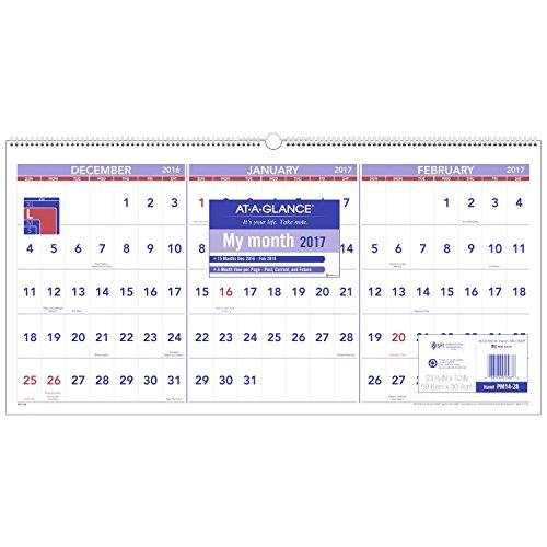 AT-A-GLANCE Wall Calendar 2017, Three Month View, 15 Months, December Start, 23-1/2 x 12