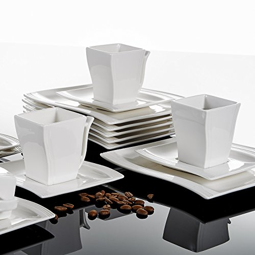 Malacasa 18-Piece Porcelain Teacups and Saucer Set with Coffee Cup Set Dessert Plates and Saucers Service for 6, Ivory White - Series Flora by Malacasa (Image #8)