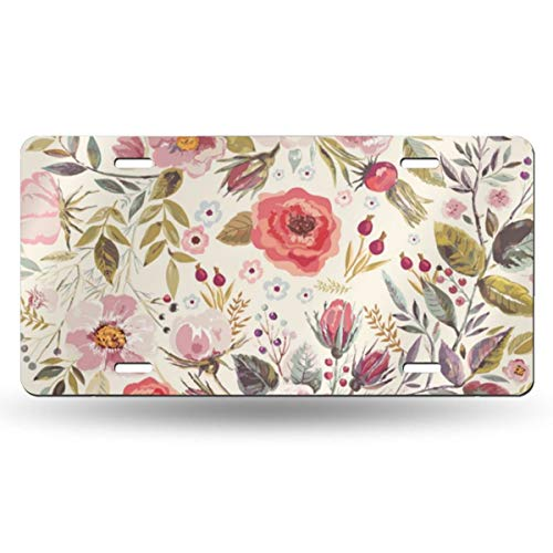 - NGHFJSUY Bungalow Rose License Plate Decorative Metal Card Personality 6