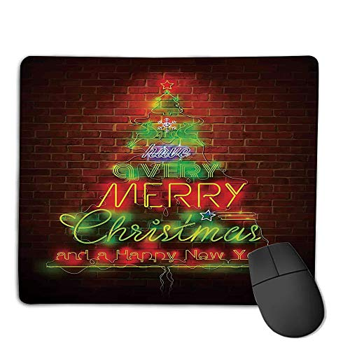 Mouse Pad,Stitched Edges, Waterproof, Ultra Thick 3mm, SilkyChristmas,Neon Lights Sign Have a Merry Xmas and Happy New Year Phrase Against The Wall,Burdy Green,Applies to Games,Home, School,Office m ()