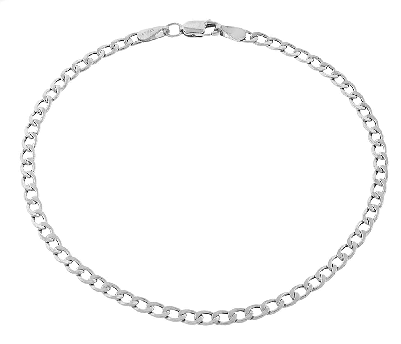 Pori Jewelers 10K Gold 3.5MM Hollow Curb//Cuban Chain Bracelet and Necklace-Made in Italy Yellow White Or Rose Gold