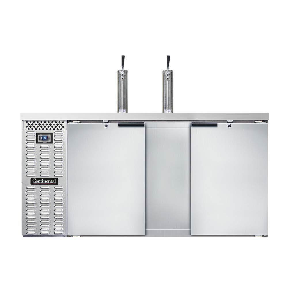 "Continental Refrigerator KC69S-SS Keg Cooler 69""W, Three Keg Capacity, Stainless Steel Exterior & Shallow Depth"
