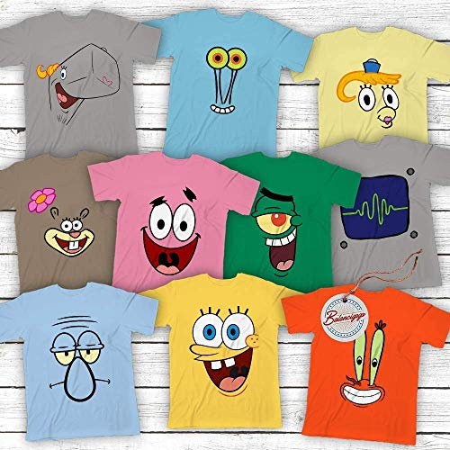 Spongebob-and-Friends Costume Halloween Group Matching Cartoon Characters Customized Handmade Hoodie/Sweater/Long Sleeve/Tank Top/Premium T-shirt