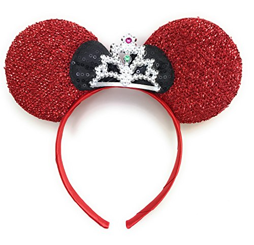 Price comparison product image MeeTHan Mickey Mouse Ears Headband Minnie Mouse ears Tiara headbands : M6 (Red-ST)