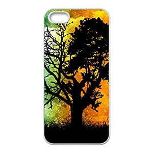 Fire and ice double days unique tree Phone Case for iPhone 5S(TPU)