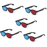 kakooze Adult Plastics Red/Blue Lens 3D Dimensional Glasses Anaglyph Glasses Black Frame (Pack of 5 Pair)