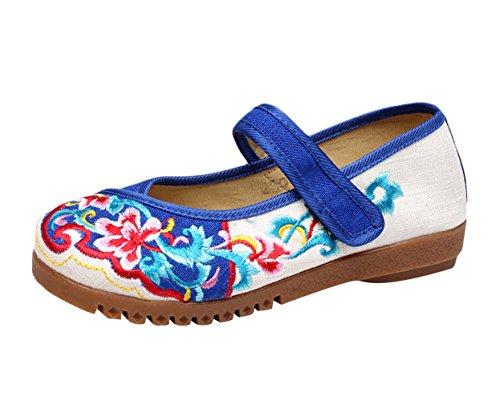 Insun Zapatos Bailarinas con Correa Mary Jane Alpargatas Para Mujer Beige+Azul