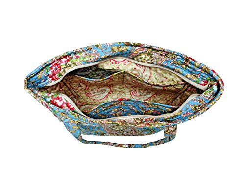 Ringarose, bella borsa a tracolla o borsa a mano trapuntata, con motivo floreale, 100% cotone lavabile in lavatrice, con cerniera multi tasca. Motivo cachemire blu.