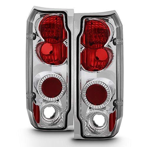 ACANII - For 1987-1996 Ford F150 F250 F350 Bronco Chrome Rear Tail Lights Brake Lamps Pair Driver & Passenger Side