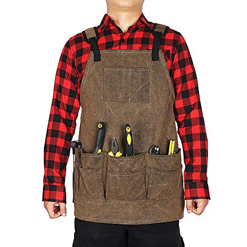 Adjustable Woodworking /& Machinist Shop Apron with Tool Pockets Waxed Canvas Tool Apron for Men Universal Waterproof Work Apron Fully Adjustable to Comfortably,Garden Tool Apron