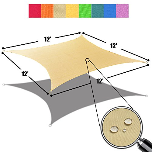 Alion Home 12' x 12' Waterproof Woven Sun Shade Sail in Vibrant Colors (Desert (Shade Sail Desert Sand)
