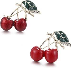 Cereza Broche,Broche de Diamantes de Cereza Doble de Fruta Cerise de Navidad Broche,Solapa Pins Mujeres Oficina Dama Trajes Bolsa Accesorios(2 Piezas)