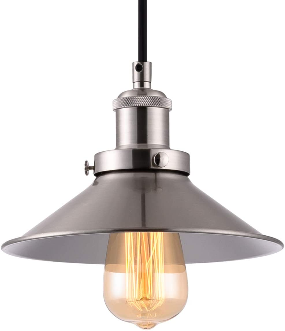 YIFI DECO LED Industrial Pendant Light 1-Light Industrial Edison Hanging Light Fixture for Kitchen Island Dining Room, UL Listed Wires, Brushed Nickel