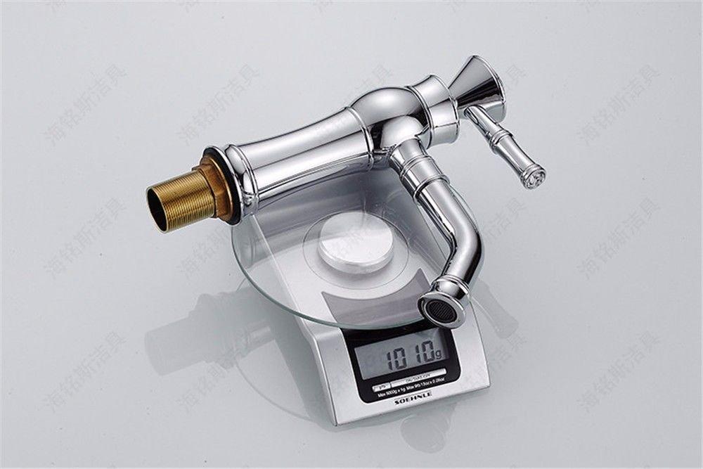LHbox Grifo Lavabo Plata Cobre Material Retro Retro Retro de perforación de Agua Mango único Orificio único Lavabo Grifo Mezclador de Cuenca 8fc42f