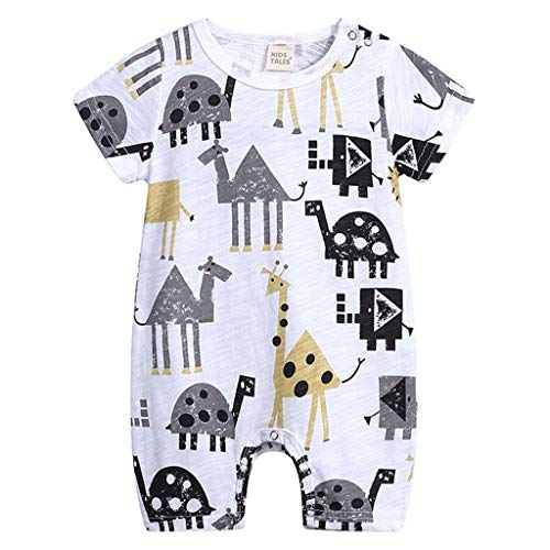 (Comfortable Baby Summer Cotton Romper Boys Girls 0-24 Months Kids Clothes Knitted Cartoon Short-Sleeved Jumpsuit Outfits B 9M)