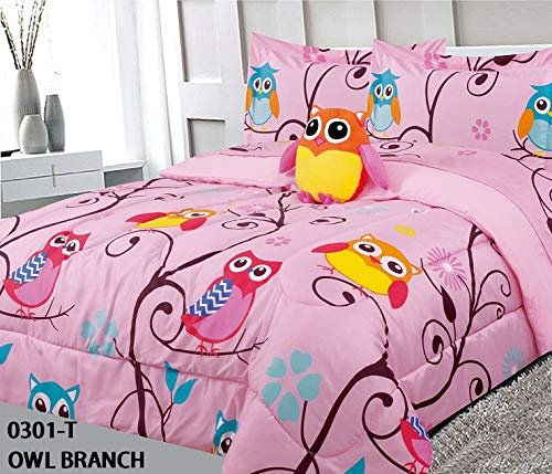 (MB Home Collection Full Size 8 Pieces Printed Hoot Owl Branches Multicolor Light Pink Design Girls Comforter, Sheet Set with 1 Pillow Cushion Toy # 8pcs Owl Branch)