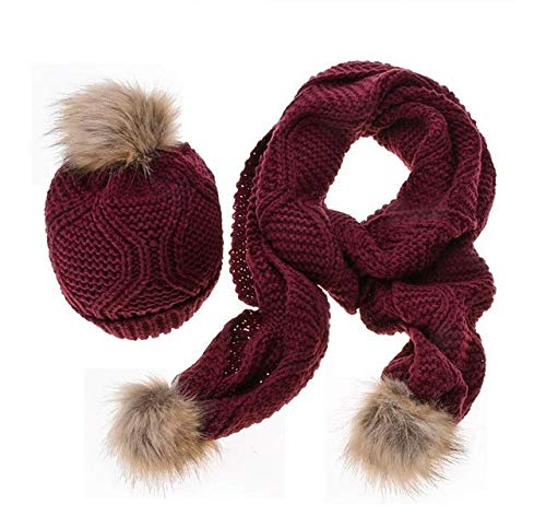 - CoCo Living Women Winter Beanie Hat and Scarf Set Pom Pom Thick Warm Knitted Slouchy Skullcaps Wine