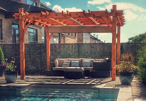 12x12 Breeze Cedar Pergola - With Retractable Canopy (Breeze Pergola)