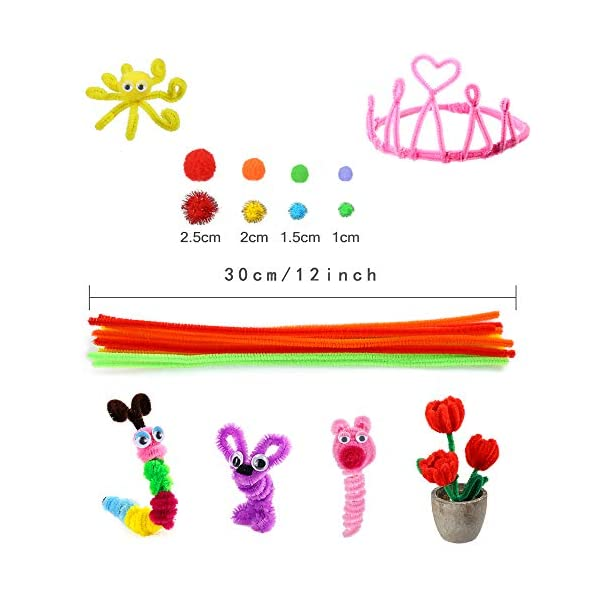 Caydo 800 Pieces Halloween Craft Pipe Cleaners Sets, Including Pipe Cleaners, Pom Poms, Wiggle Eyes and Pony Beads for Halloween Decorations