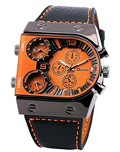 Oulm Man's Fashion Watch with 3 Quartz Movement Dial Leather Band orange CH164 (Leather Quartz Movement)