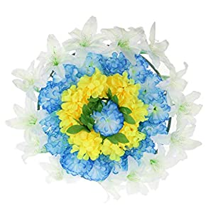 Baoblaze Artificial Silk Flower Wreath with Plastic Panels Memorial Flower Wreath Grave 60cm 14