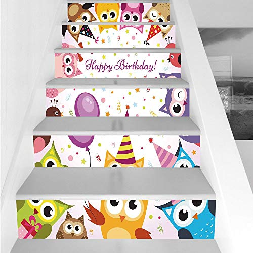 Stair Stickers Wall Stickers,6 PCS Self-adhesive,Birthday Decorations for Kids,Party Owl Family with Colorful Cone Hats on Confetti Backdrop,Multicolor,Stair Riser Decal for Living Room, Hall, Kids Ro for $<!--$26.66-->