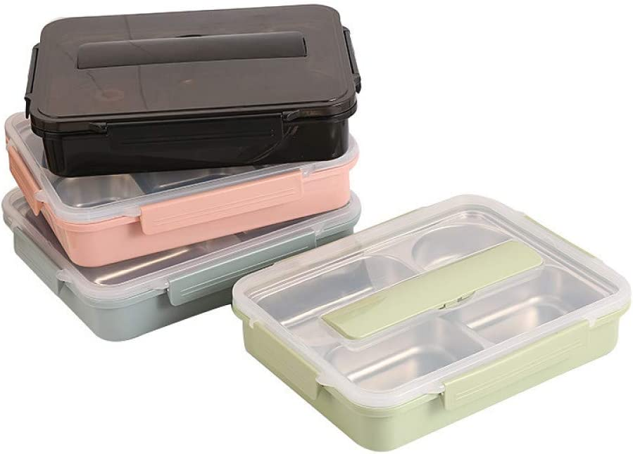 Details about  /AG/_ AB/_ 4 Compartments 304 Stainless Steel Office Food Storage Bento Lunch Box P