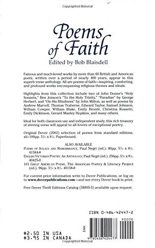 Poems Of Faith Dover Thrift Editions Bob Blaisdell
