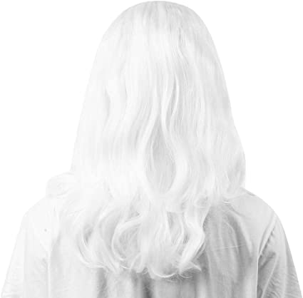 Peluca blanca de Papá Noel, peluca ondulada larga y rizada para mujer, adecuada para varias formas de cara, para fiesta de Halloween Cosplay diario Uso de Navidad: Amazon.es: Belleza