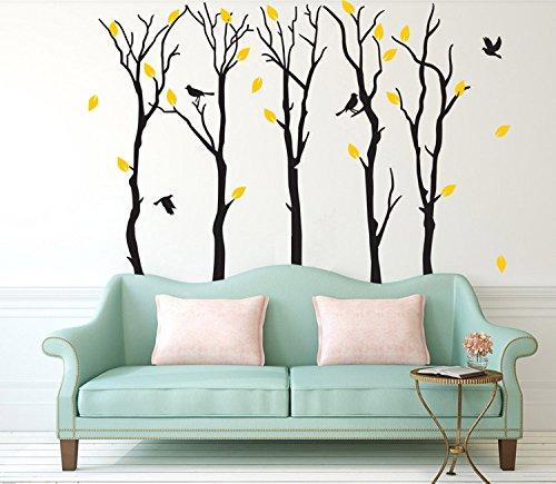 Fymural Large 5 Poplar Trees Wall Stickers Art Mural Wallpaper for Kid Baby Nursery Livingroom Background Vinyl Removable DIY Decals 133.9x102.4,Black by Fymural (Image #1)